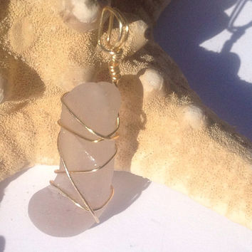 Golden Lavender Boot rare Lavender sea glass pendant on a purple ribbon necklace