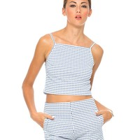 Motel Sisco Check Halter Top in Blue and White