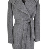 Martin Grant Wool Self-Tie Belt Coat Light Grey