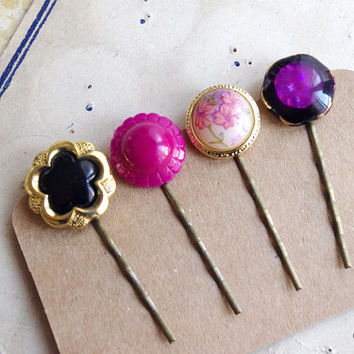 Retro Hair Pin, Vintage Button bobby Pin, Fuchsia Black Hair jewelry, elegant hairstyle