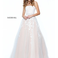 Sherri Hill 50864 Lace Appliquéd Bodice Formal Prom Dress