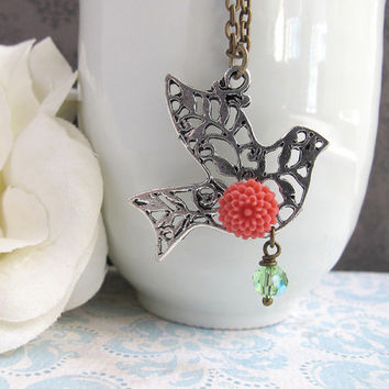 Spring Jewelry. Coral Red Pompom. Dove, Olive Green Swarovski crystal Nature Woodlands Inspired Antiqued Long necklace