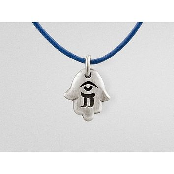 """Hamsa"" Hand Pendant Amulet in Oxidized Sterling Silver"
