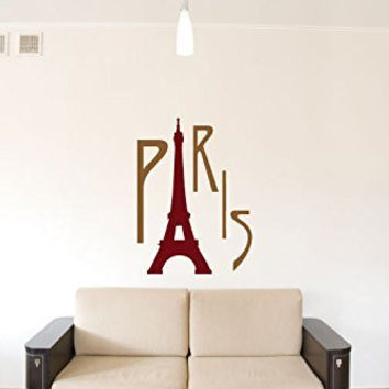 Paris with Eiffel Tower Silhouette Vinyl Wall Words Decal Sticker Graphic