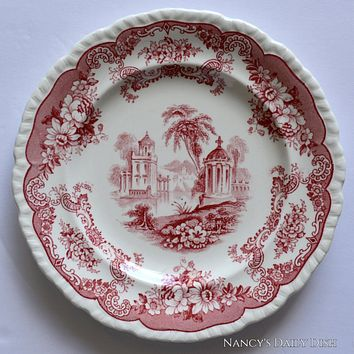 Antique Red Chinoiserie Transferware Plate Maddock Bombay  Lake Gazebo Flowers Roses