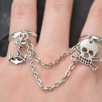 pirate skull chained double ring  skull anchor charm double ring in fantasy hipster boho gypsy hippie and pirate  style