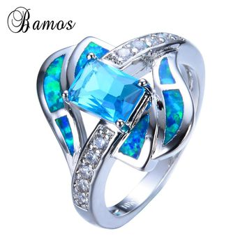 Bamos 2017 Luxury Female Blue Ring Fashion 925 Sterling Silver Filled Fire Opal Ring Vintage Wedding Rings For Women Gifts