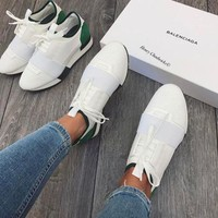 Balenciaga Fashion Race Runners Women Men Comfortable Sneakers Casual Shoes White+green tail