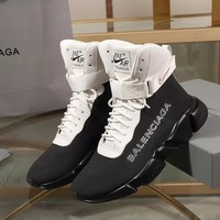 Balenciaga Speed Trainers Black/ White With Black Sole Unit Sneakers - Best Deal Online
