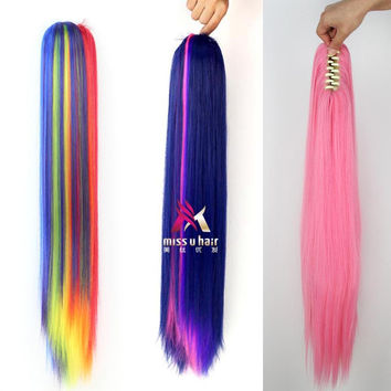 65cm 180g Long straight Ponytail My Little Pony Rainbow  Fluttershy Twilight Sparkle Dash Wig Tail for Halloween Party