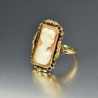 Gold Edwardian Antique Carved Shell Cameo Ring