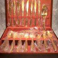New Vintage 24K Gold Plated Rogers Cutlery Stainless Silverware Americana Golden Heritage Full Service for 8 with Bonus Serving Flatware Set