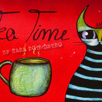 Tea Time - orig. cat illustration on paper - Pop Art cat - Acrylic paint & watercolor - funny cats - cat art - LOL cats -