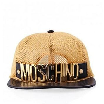 Moschino Fashion Women Men Spring Summer Street Snap Badge Gauze Baseball Cap Hip-Hop Hat Peaked Cap