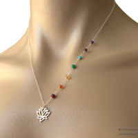Lotus Chakra Necklace - Om Charm Necklace, Sterling Silver yoga jewelry, precious gemstones, Hindu Chakras jewelry, lotus necklace