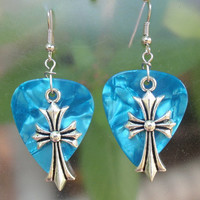 Large Cross Earrings, Christian Faith Guitar Pick Jewelry, Custom Color, Crucifix Pierced or Clip On Earrings, Easter