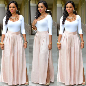Pure White Scoop Neck 3/4 Sleeve Top with Pink Mid-waited Long Dress
