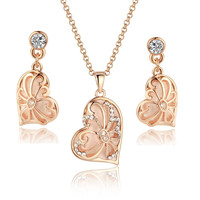 Rose Gold Tone Vintage Asymmetrical Heart Pendant Necklace and Earrings Set
