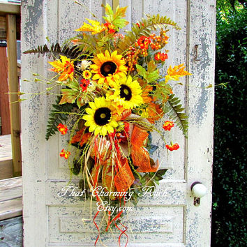 Fall sunflower wreaths for front door, Fall floral swag, autumn door hanger, Fall decor, scarecrow, Thanksgiving decor, floral door swag