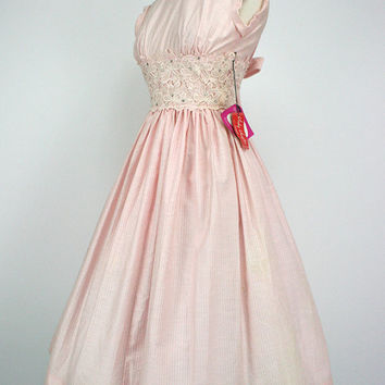 50s Dress Vintage Vicky Vaughn Pink Party Dress Lace Rhinestones Pearls Shelf Bust NOS w/ Tags Never Worn 1950s Dresses -Issues see cond.