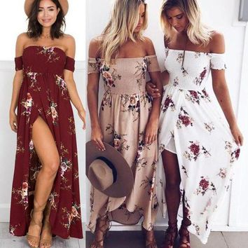 LMFOK8 printed party dresses 2017 red white sexy off shoulder summer dress boho beach dress vestidos ukraine plus size maxi dress