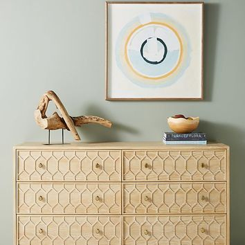 Textured Trellis Six-Drawer Dresser