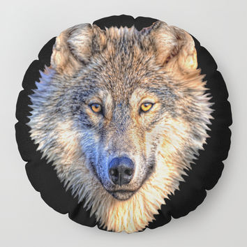 Midnight Wolf Floor Pillow by inspiredimages