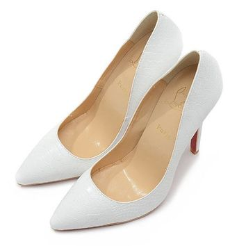Christian Louboutin Fashion Edgy Fish Patterns Pointed Red Sole Heels Shoes