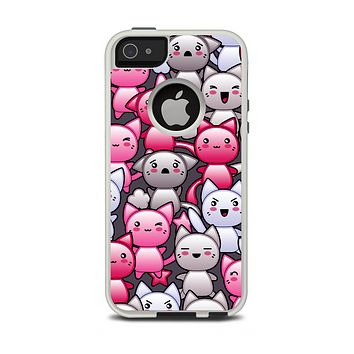 The Cute Abstract Kittens Apple iPhone 5-5s Otterbox Commuter Case Skin Set