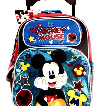 """New Mickey Mouse Small Toddler 12"""" Rolling Backpack-Shine Blue"""