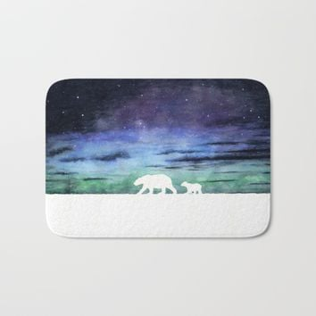 Aurora borealis and polar bears (white version) Bath Mat by Savousepate