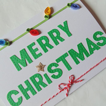 Quilled Christmas lights card, Christmas cards, quilled cards, quilling cards, Xmas cards, Christmas lights card, Merry Christmas cards