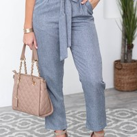 Sazan Waist Tie Pocketed Crop Pants