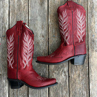 KIDS OLD WEST BOOTS RED
