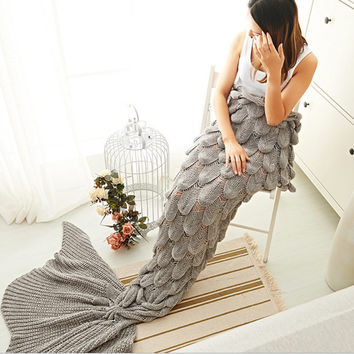 Mermaid Party to Be Adored Blanket Scales shape Grey