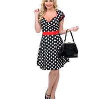 Black & White Polka Dot Dollface Flare Dress