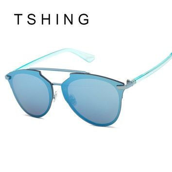 TSHING Designer Rimless Cat eye Mirror Sun Glasses