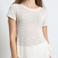 Womens Lightweight Scoop Neck Short Sleeve Lace Top