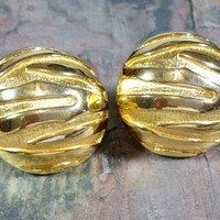 Haute Couture Chunky BIG Clip On Earrings Bright Gold Round Domed Fresh New Comfort Pads Ear Pads Fashion Runway Earrings So Bold!