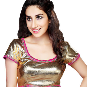 Sizzling Gold Metallic Saree Blouse 45SL