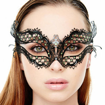 DIY Vampire Diaries Masquerade Ball Black Elena Venetian Masquerade Mask with No Rhinestones
