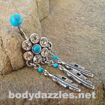 Dream Catcher Turquoise Center Belly Button Ring Navel Ring Belly Piercing 14ga 316L Surgical Stainless Steel Body Jewelry
