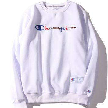 CHAMPION autumn and winter new wave of color embroidery English Hulan Tailong plus velvet base sweater