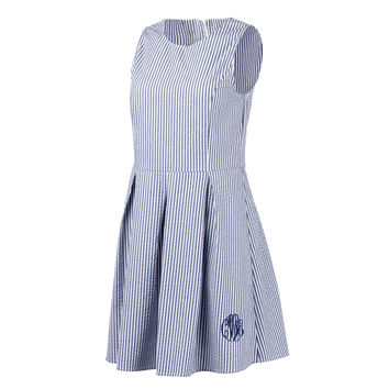 Seersucker Monogrammed Dress