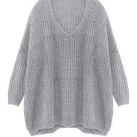 Grey V Neck Drop Shoulder Sweater