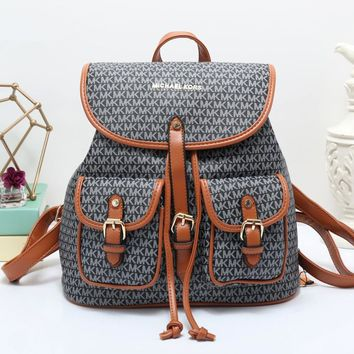 """Michael Kors"" Retro Casual Fashion Multicolor Letter Print Drawstring Backpack Women MK Large Capacity Travel Double Shoulder Bag"