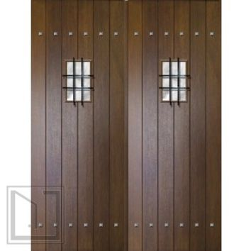Slab Entry Double Door 96 80 Wood Mahogany Rustic Plank Solid