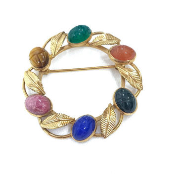 Van Dell Gold Filled Scarab Pin, Semi-Precious Gemstone Pin, Lapis Rose Quartz Carnelian, Rose Gold, 1960s, Vintage Jewelry