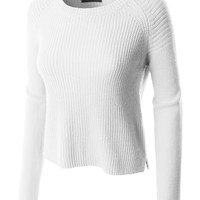 LE3NO Womens Cozy Knit Long Sleeve Cropped Pullover Sweater Top (CLEARANCE)