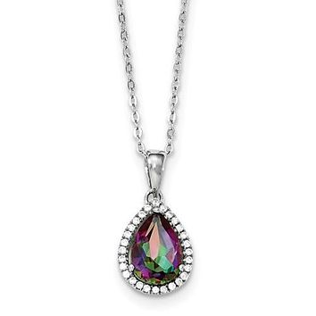 Sterling Silver Rainbow Mystic Topaz & CZ Halo Pear Teardrop Necklace